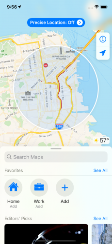 Apple Maps with a shaded circular blue area indicating a general location of the user and a button at the top of the view explaining precise location is off