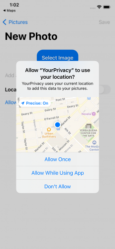 Alert asking user to allow location access only once, while using the app or to deny access.