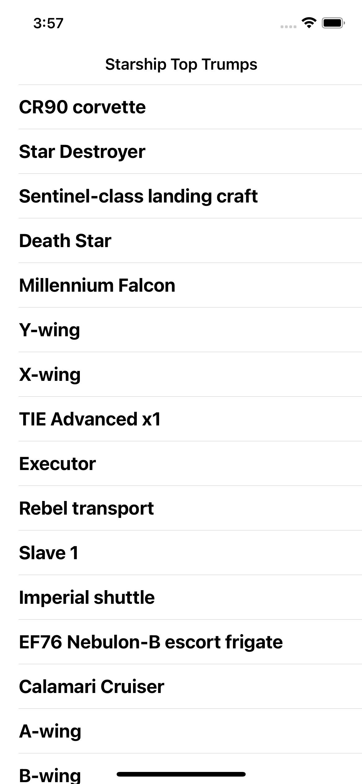 Starting starship list