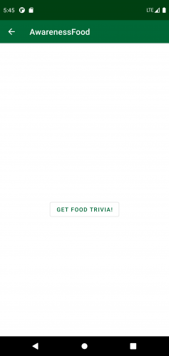 Food trivia section in the app