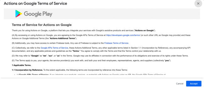 Terms of Service for Actions on Google