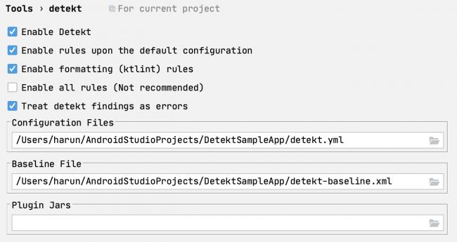 detekt plugin configuration options