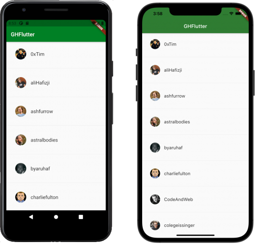 Final appearance of the GHFlutter app
