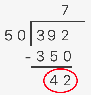 long division showing 392 divided by 50 with a remainder of 42