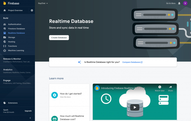 Create database in Firebase Console