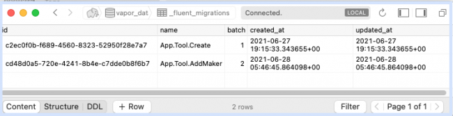 Migrations tables after running the AddMaker.