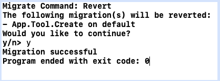 Dialog and prompt to revert migrations in Xcode.