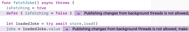 Publishing changes from background threads is not allowed.