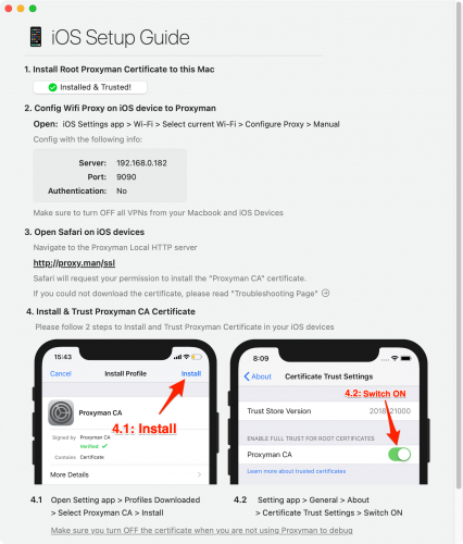 Window in Proxyman with detailed information on how to install the Proxyman CA certificate on iOS device