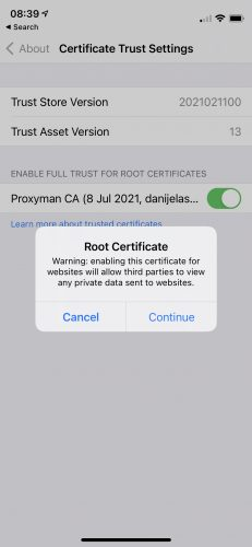 iPhone with a prompt asking you to Trust the Root Certificate