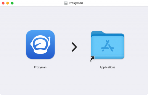 Installation process showing you to drag and drop Proxyman.dmg file to your Applications folder