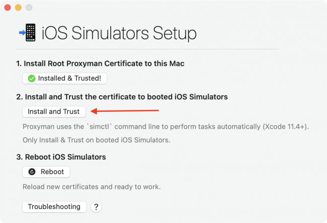 iOS Simulator's Setup window in Proxyman with instructions on how to install the certificate on a Simulator