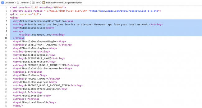 Info.plist opened as Source Code and how it looks after adding the required new lines