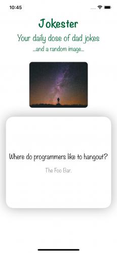 Jokester app displaying a joke in Simulator