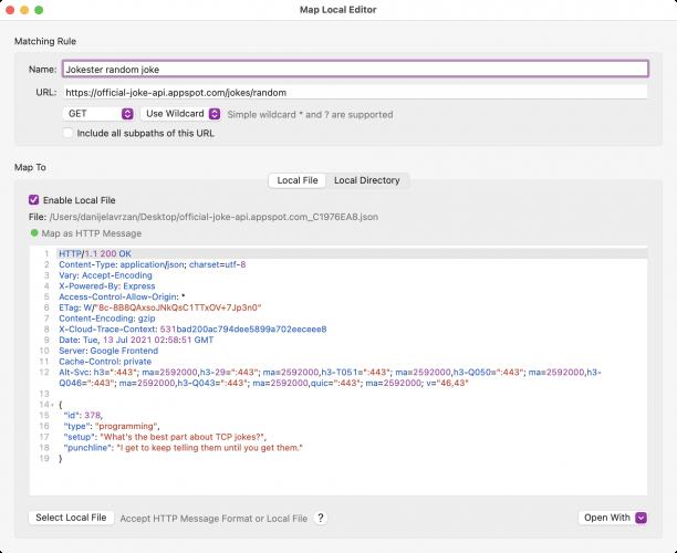 Map Local Editor window in Proxyman
