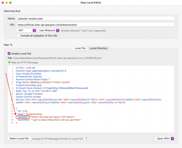 Map Local Editor showing where to edit the JSON in place and replace setup with question