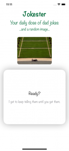 Jokester app in Simulator showing the setup saying Ready? and punchline is the same