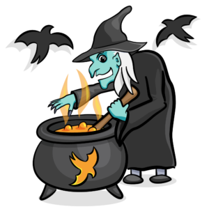 A witch boiling something in her cauldron with Swifties flying around her