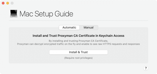 Proxyman app showing the window of the Installing your Proxyman Root Certificate setup guide