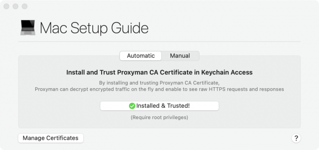 Mac Setup Guide window in Proxyman showing Installed and Trusted for the Proxyman root certificate