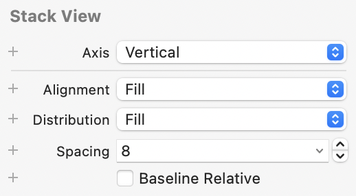 Stack view settings