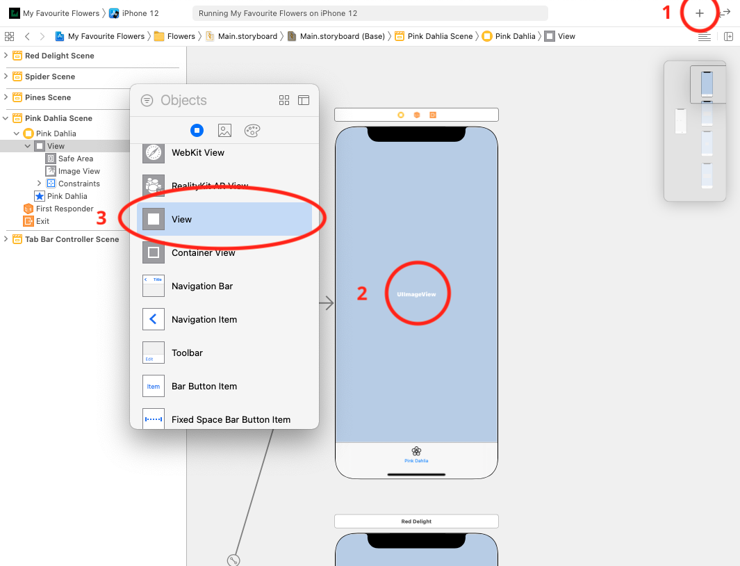 Create a new UIView for the FirstViewController screen