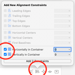 Set the alignment of the view