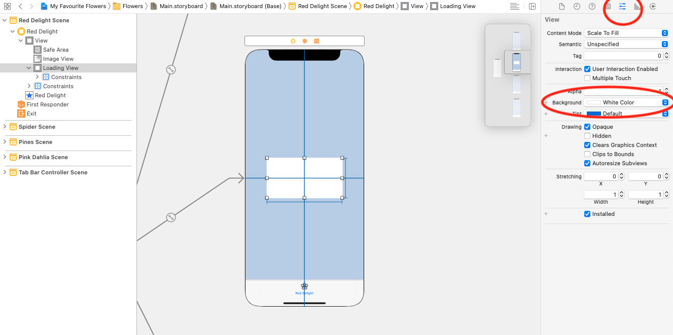 Open the Attributes inspector on your loading view