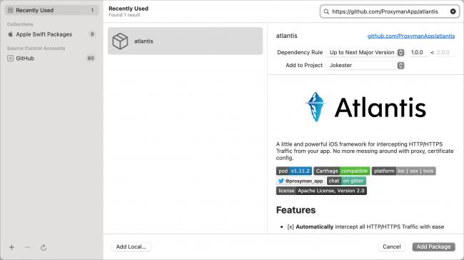 Choose package repository window in Xcode