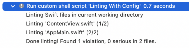 SwiftLint result printed by the run script phase that you just added