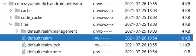 Realm database in file explorer