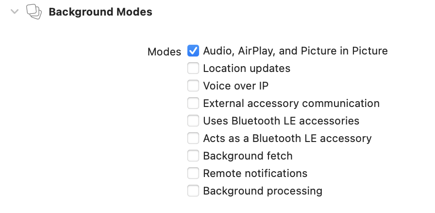 The background modes capability with only Audio, AirPlay, and Picture in Picture selected