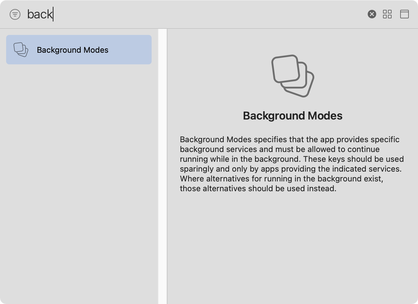 The background modes capability in the capability search pop-up