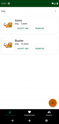 Filtered pets screen