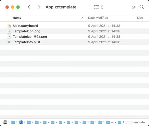 Folder content of App.xctemplate
