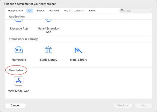 Xcode pop-up to choose custom templates