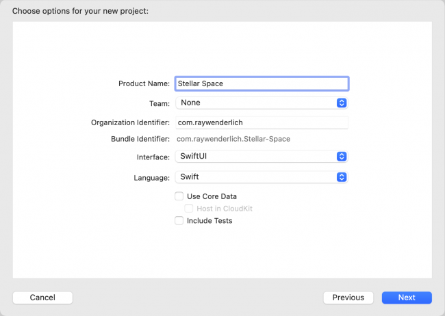 Xcode pop-up to choose options for creating new project