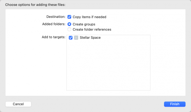 Select Copy items if needed to include new files in the current project
