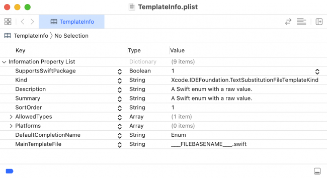 TemplateInfo.plist for new Swift file