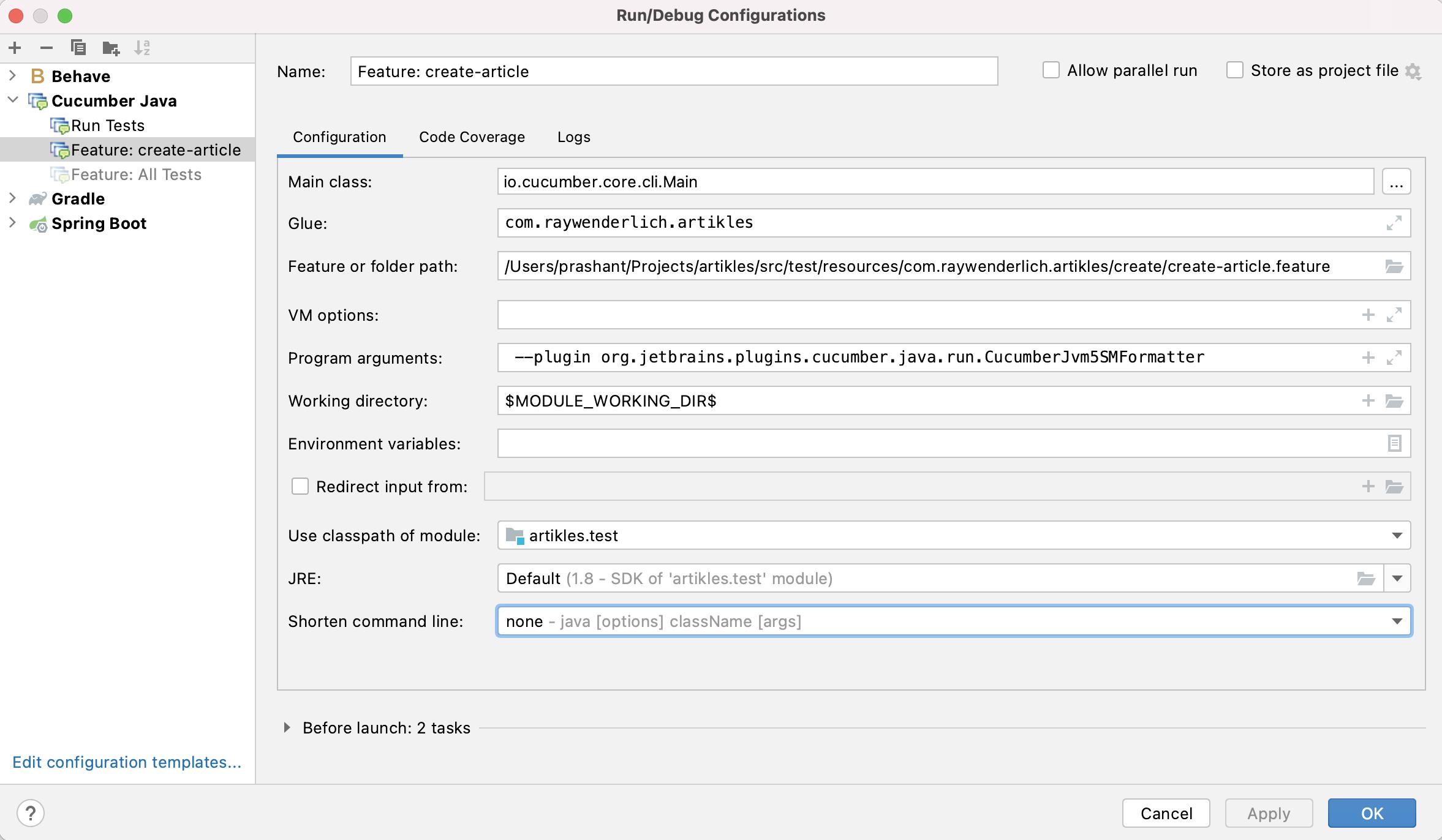 Cucumber Java configuration for Feature: create-article