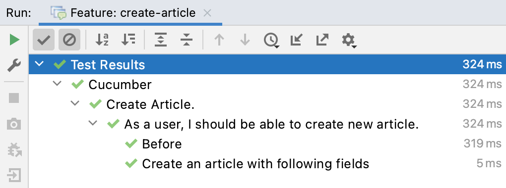 All tests completed successfully for the Feature: create-article configuration