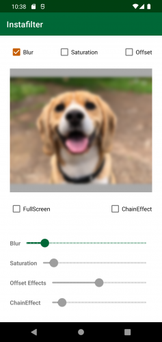 Instafilter with Blur box checked and dog image blurred