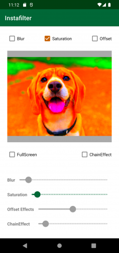 Instafilter with Saturation checked and the dog image has much more vivid colors