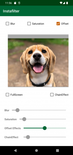 Instafilter with dog photo slightly shifted