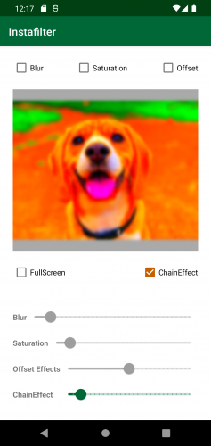 Instafilter with dog image blurred and saturated with color