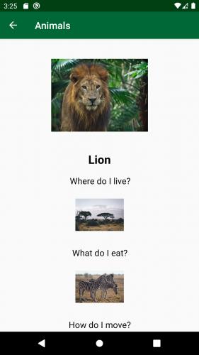 Animal details screen