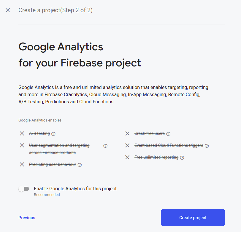 Second create a project screen with toggle switch to enable or disable analytics.