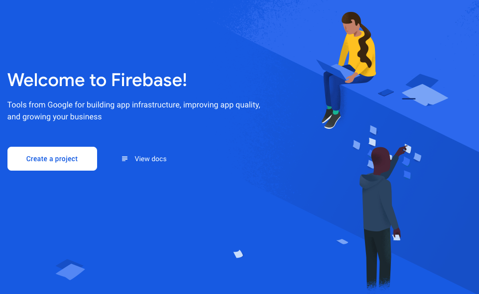 Blue Welcome to Firebase startup page with options to Create Project or View Docs.