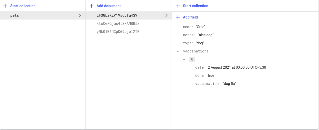 Pets collection with stored documents and fields.