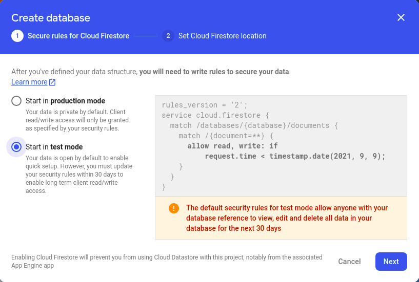 Create Database screen with Start in Test Mode selected.